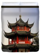 Buddhist Pagoda - Shanghai China Duvet Cover by Christine Till
