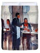Business Lunch Duvet Cover by Ryan Radke