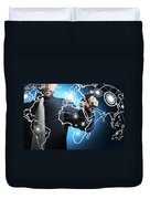 Businessman Touching World Map Screen Duvet Cover by Setsiri Silapasuwanchai