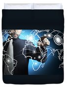 Businessman Touching World Map Screen Duvet Cover by Setsiri Silapasuwanchai
