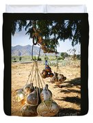 Calabash Gourd Bottles In Mexico Duvet Cover by Elena Elisseeva