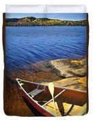 Canoe On Shore Duvet Cover by Elena Elisseeva