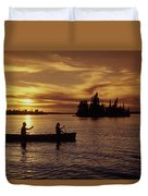 Canoeing At Sunset, Otter Falls Duvet Cover by Dave Reede
