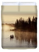 Canoeing On Winnipeg River, Pinawa Duvet Cover by Dave Reede