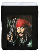 Captain Jack Sparrow Duvet Cover by Tom Carlton