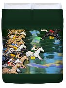 Carnival Horse Race Game Duvet Cover by Garry Gay