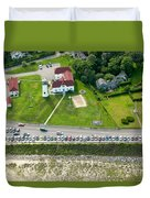 Cars Line Up At The Parking Lot At Chatham Lighthouse And Chatha Duvet Cover by Matt Suess