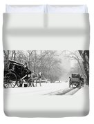 Central Park In Falling Snow Duvet Cover by Axiom Photographic