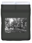 Central Park Mall In Black And White Duvet Cover by Rob Hans