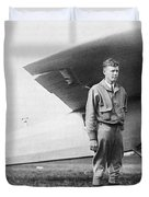 Charles Lindbergh American Aviator Duvet Cover by Photo Researchers