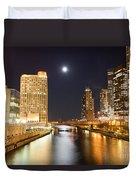 Chicago At Night At Columbus Drive Bridge Duvet Cover by Paul Velgos