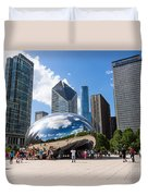 Chicago Bean Cloud Gate With People Duvet Cover by Paul Velgos