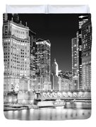 Chicago Cityscape At Night At Dusable Bridge Duvet Cover by Paul Velgos
