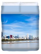 Chicago Lakefront Skyline Wide Angle Duvet Cover by Paul Velgos