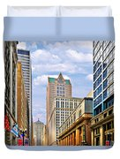 Chicago - Looking South From Lasalle Street Duvet Cover by Christine Till