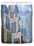 Chicago - One South Wacker And Hyatt Center Duvet Cover by Christine Till