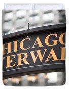 Chicago Riverwalk Sign Duvet Cover by Paul Velgos