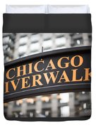 Chicago Riverwalk Sign Duvet Cover by Paul Velgos