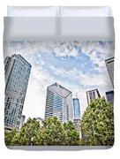 Chicago Skyline At Millenium Park Duvet Cover by Paul Velgos