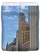 Chicago Willoughby Tower And 6 N Michigan Avenue Duvet Cover by Christine Till