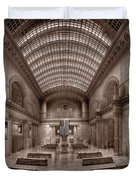 Chicagos Union Station Bw Duvet Cover by Steve Gadomski