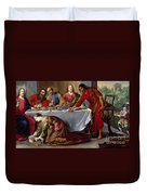Christ In The House Of Simon The Pharisee Duvet Cover by Claude Vignon