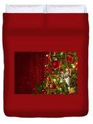Christmas Tree Detail Duvet Cover by Carlos Caetano