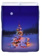 Christmas Tree Glowing Duvet Cover by Carson Ganci