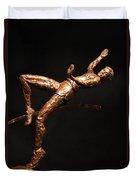 Citius Altius Fortius Olympic Art High Jumper On Black Duvet Cover by Adam Long