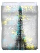 City-art Paris Eiffel Tower Letters Duvet Cover by Melanie Viola