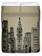 City Hall From North Broad Street Philadelphia Duvet Cover by Bill Cannon