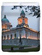 City Hall Illuminated Belfast, County Duvet Cover by Peter Zoeller