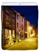 City Street At Night, Staithes Duvet Cover by John Short
