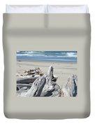 Coastal Driftwood Art Prints Blue Waves Ocean Duvet Cover by Baslee Troutman