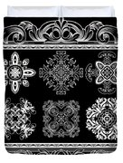 Coffee Flowers Ornate Medallions Bw 6 Piece Collage Framed  Duvet Cover by Angelina Vick