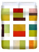 Color Study Abstract Collage Duvet Cover by Michelle Calkins