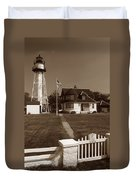 Coney Island Lighthouse Duvet Cover by Skip Willits