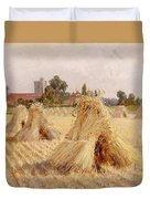 Corn Stooks By Bray Church Duvet Cover by Heywood Hardy