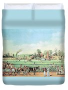 Cotton Plantation On The Mississippi Duvet Cover by Photo Researchers