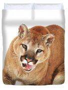Cougar With Prey Duvet Cover by Richard Wear