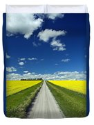Country Road With Blooming Canola Duvet Cover by Dave Reede