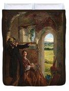 Couple Observing A Landscape Duvet Cover by English School