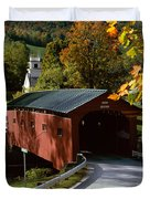 Covered Bridge in Vermont Duvet Cover by Rafael Macia and Photo Researchers