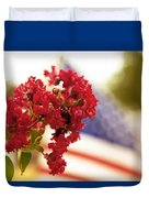 Crapemyrtle And Patriotic Proud Duvet Cover by Toni Hopper