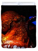 Creatures of The Deep - The Octopus - v6 - Orange Duvet Cover by Wingsdomain Art and Photography