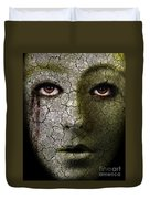 Creepy Cracked Face With Tears Duvet Cover by Jill Battaglia