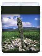 Cross Slab, Dingle Peninsula, Co Kerry Duvet Cover by The Irish Image Collection