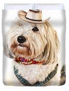 Cute dog in Halloween cowboy costume Duvet Cover by Elena Elisseeva