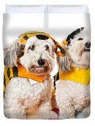 Cute dogs in Halloween costumes Duvet Cover by Elena Elisseeva