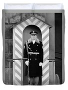 Czech Soldier On Guard At Prague Castle Duvet Cover by Christine Till